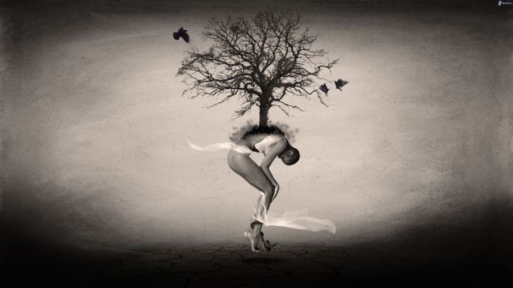 naked-woman,-tree,-snake,-birds,-black-and-white-219222